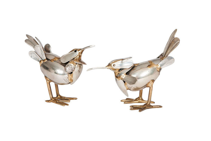 A set of two cutlery sculptures 'Birds'