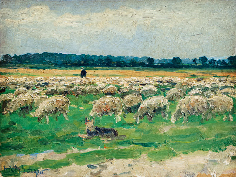 Shepherd with Flock