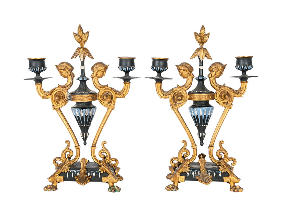 A pair of two-armed candelabras