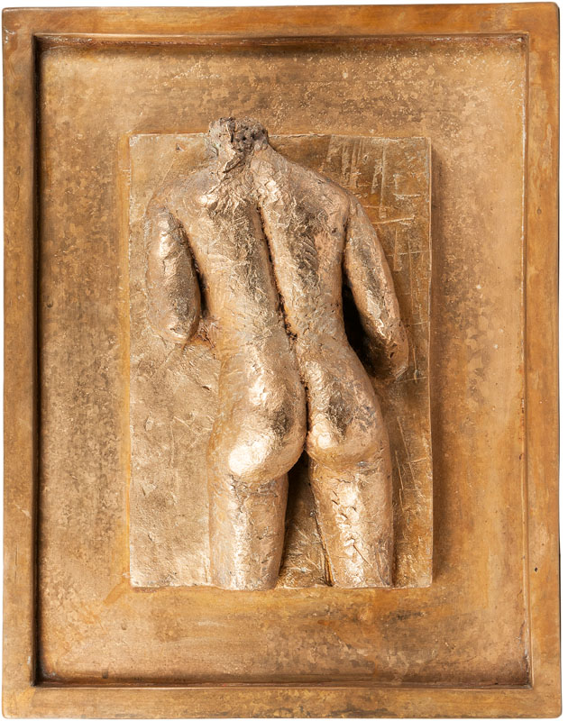 A bronze relief 'Femal nude'