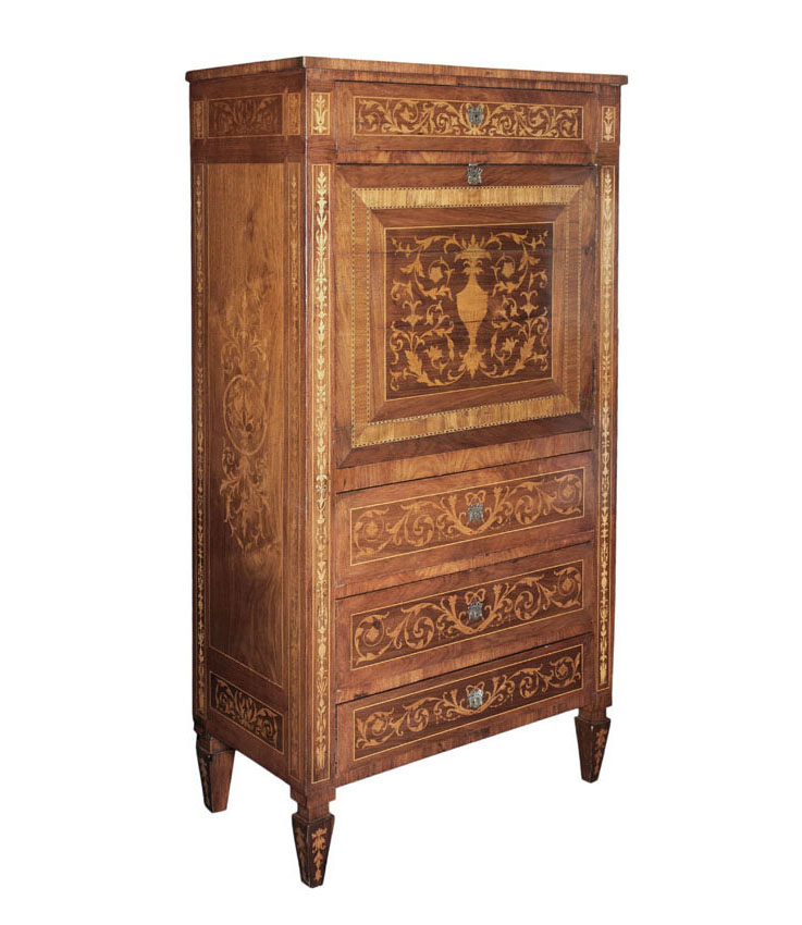 A writing cabinet with floral marquetery