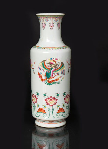 A famille-rose rouleau vase with dragon and phoenix