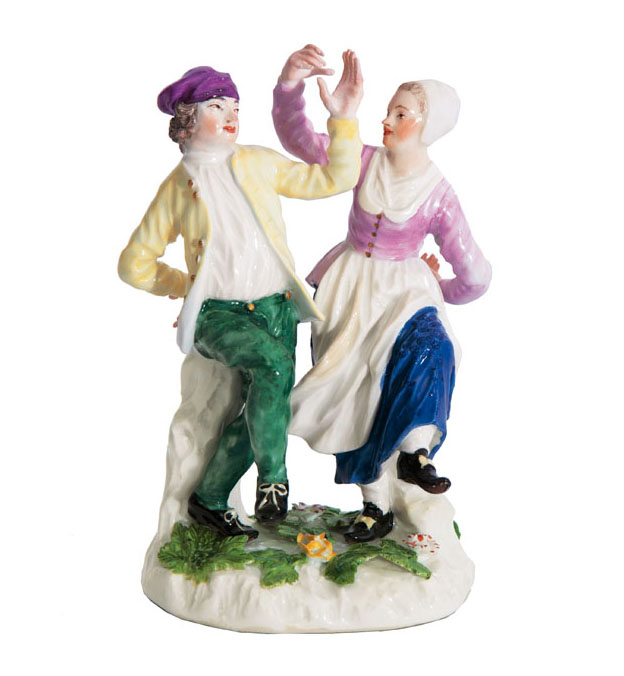 A rare figural group 'Dutch couple dancing'