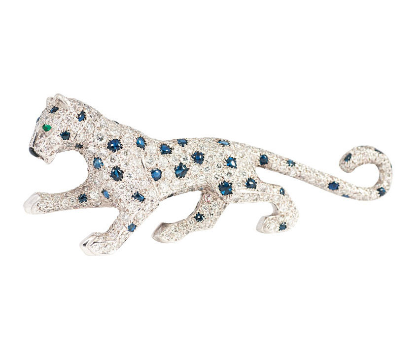 A diamond sapphire brooch 'Panther' by Cartier