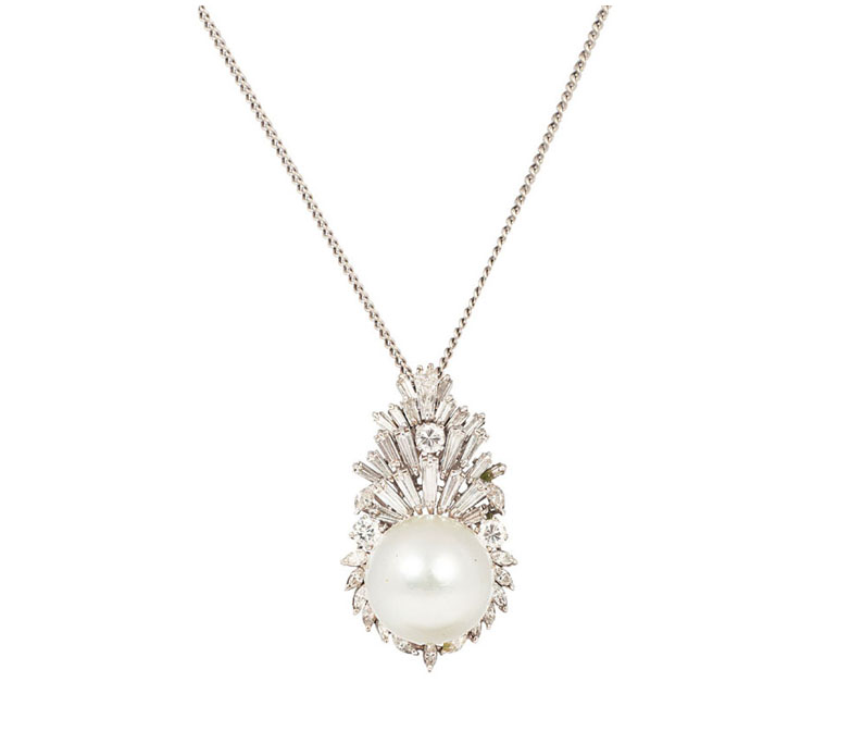 A Southsea diamond pendant with necklace