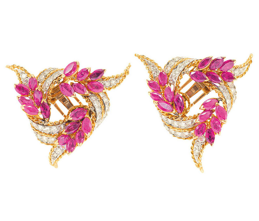A pair of high quality ruby diamond earrings