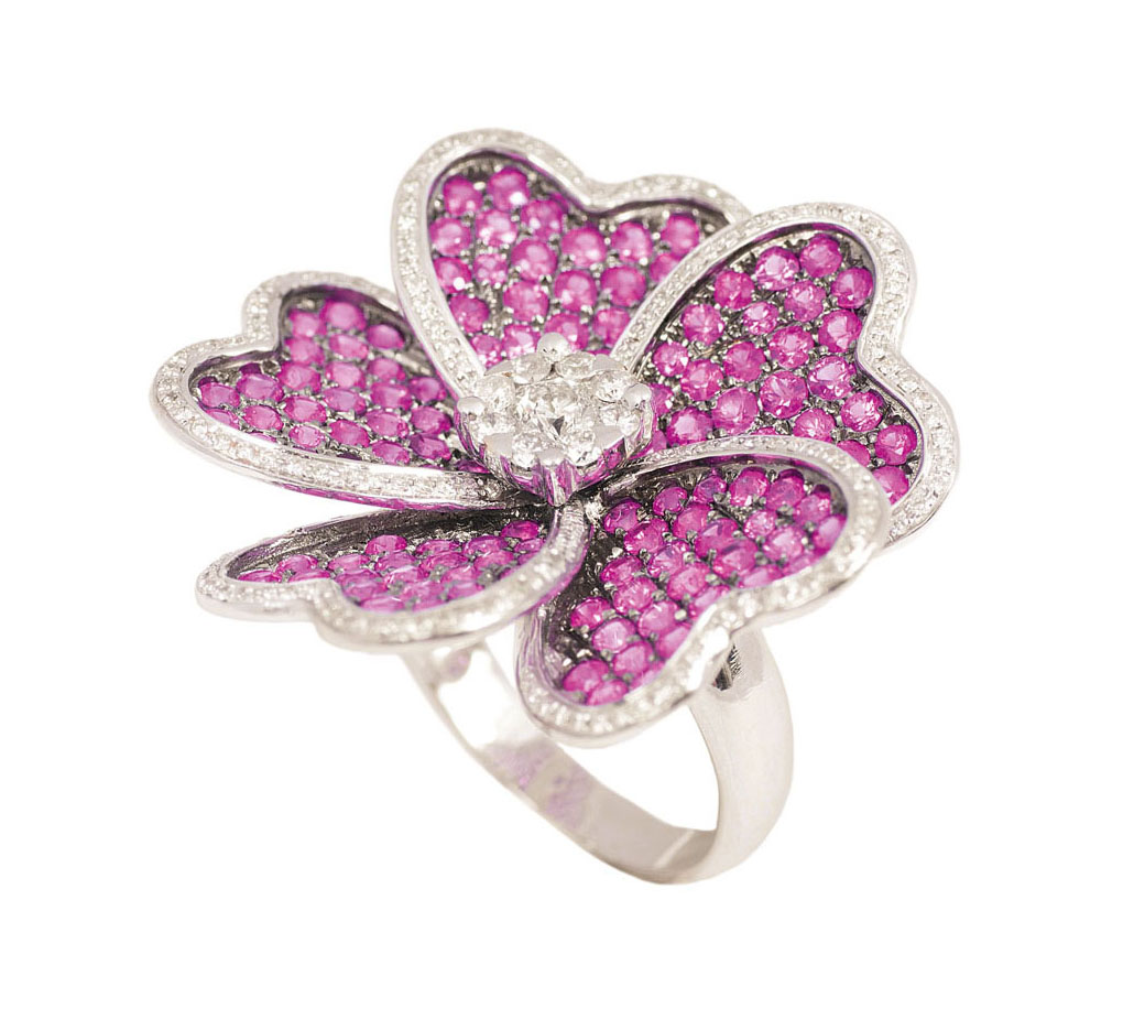 A flowershaped ruby diamond ring