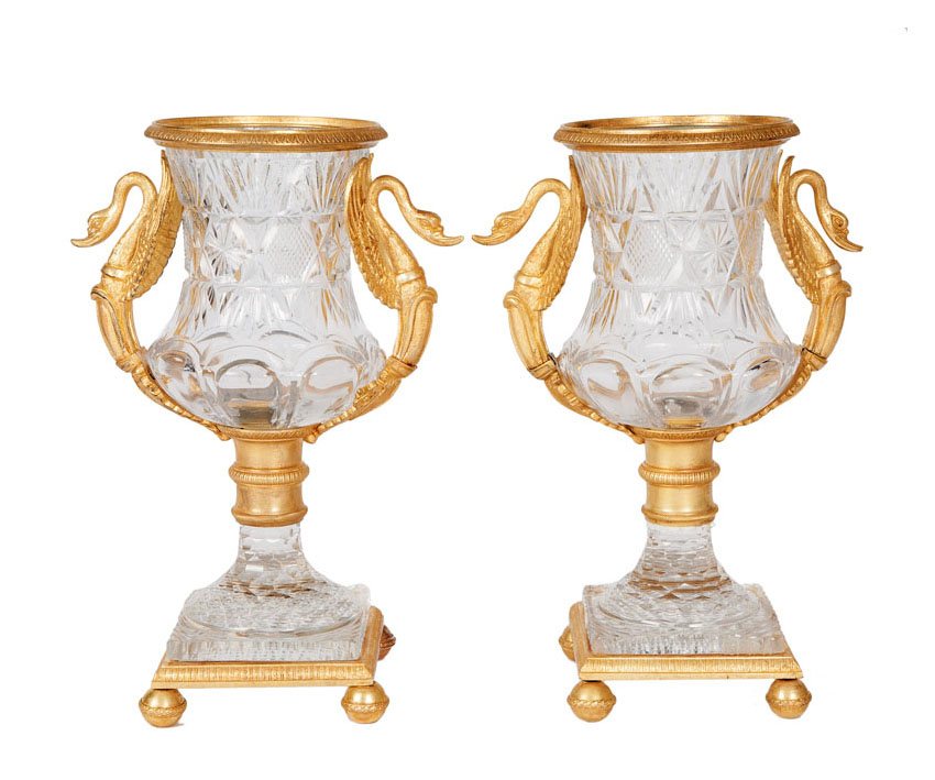 A pair of bronze mounted vases in Empire style
