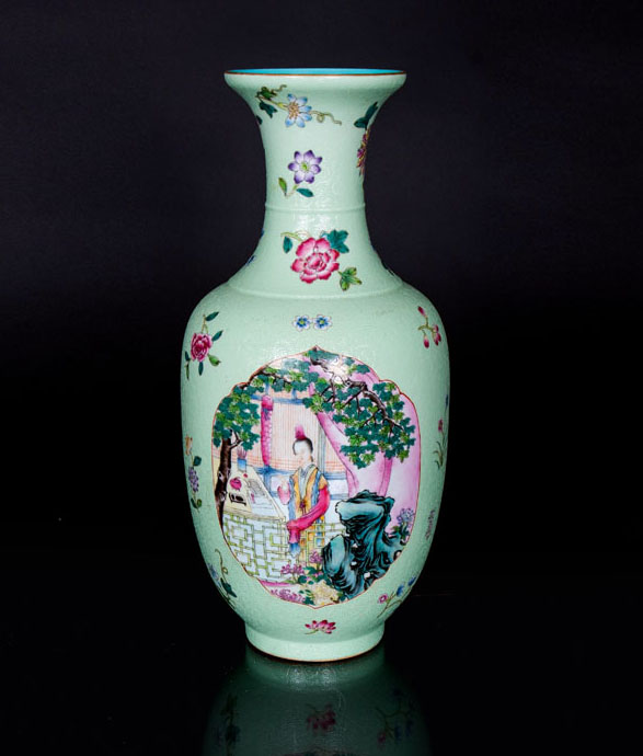 A fine mint ground vase with figural scenes