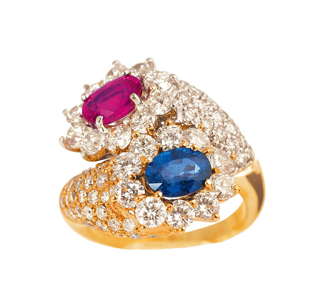A highcarat diamond ruby sapphire ring