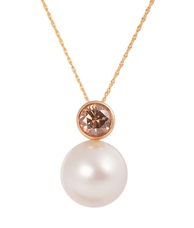 A Southsea pearl diamond pendant with necklace