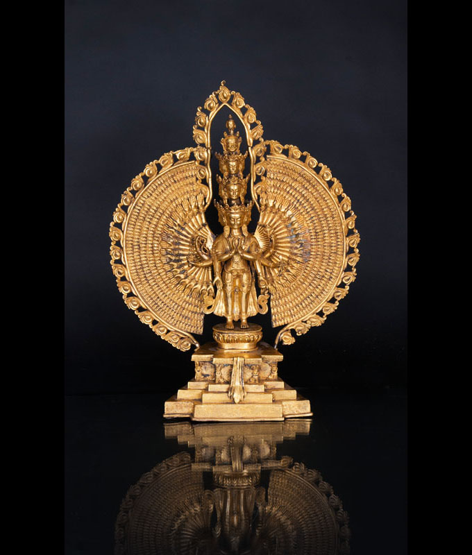 A fine and large bronze figure 'Avalokiteshvara'
