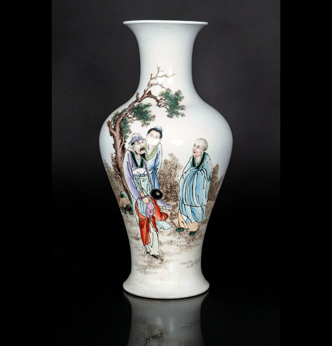 A baluster vase with figural scene