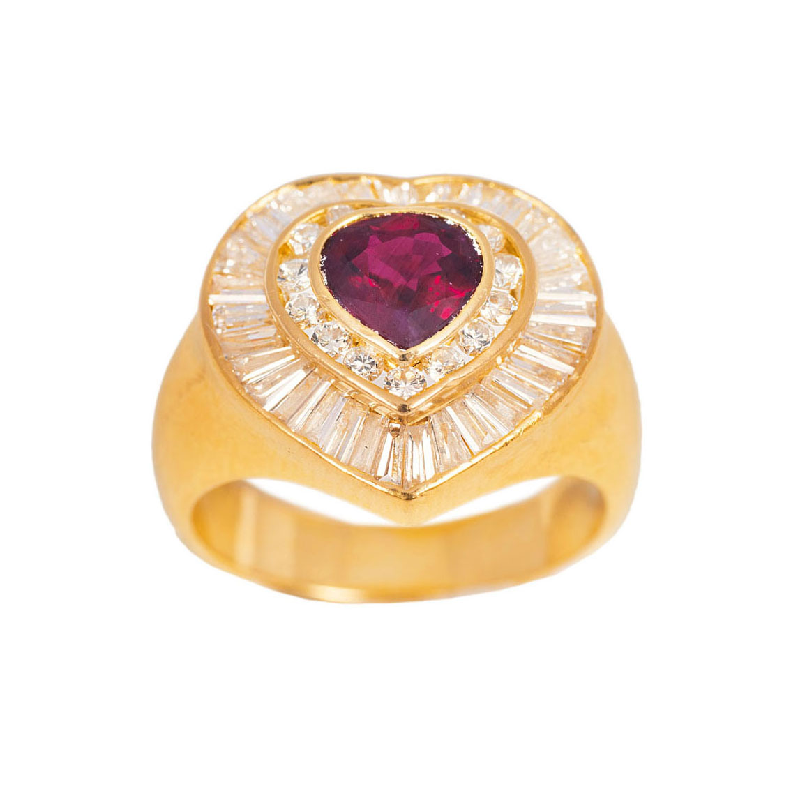 A ruby diamond ring in heart shape