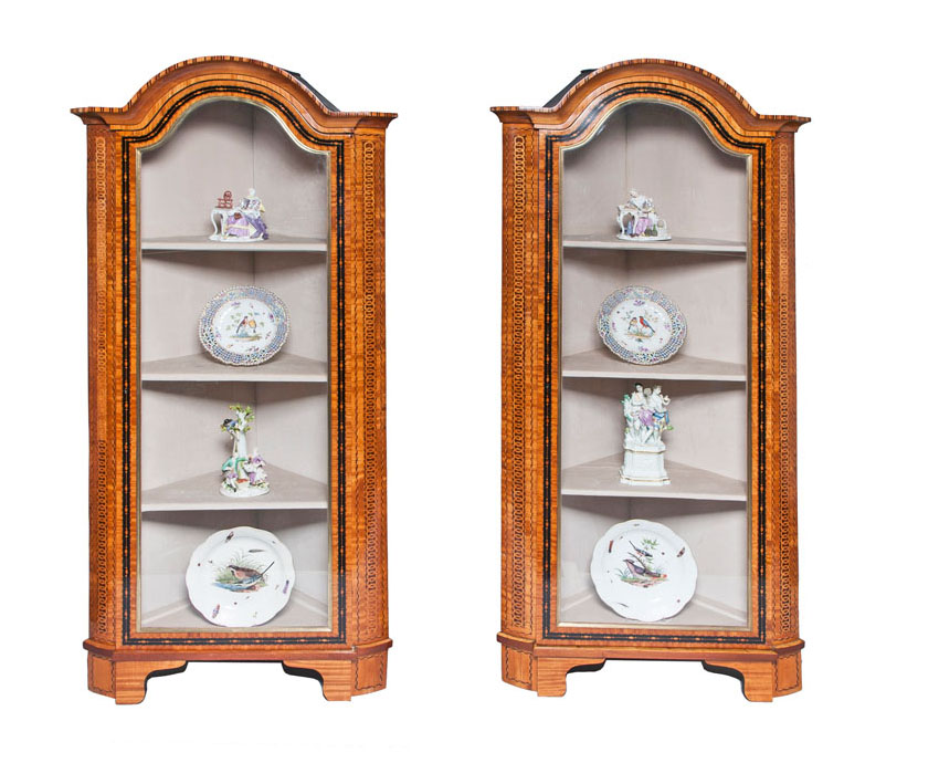 A rare pair of classical corner cabinets