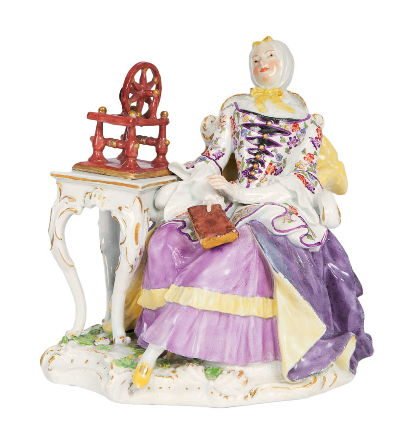 A rare Kaendler-figure 'housewife sitting by a spinning wheel'