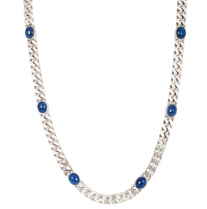 A sapphire gold demi parure with long necklace and bracelet