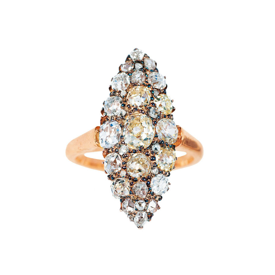An antique marquise diamond ring