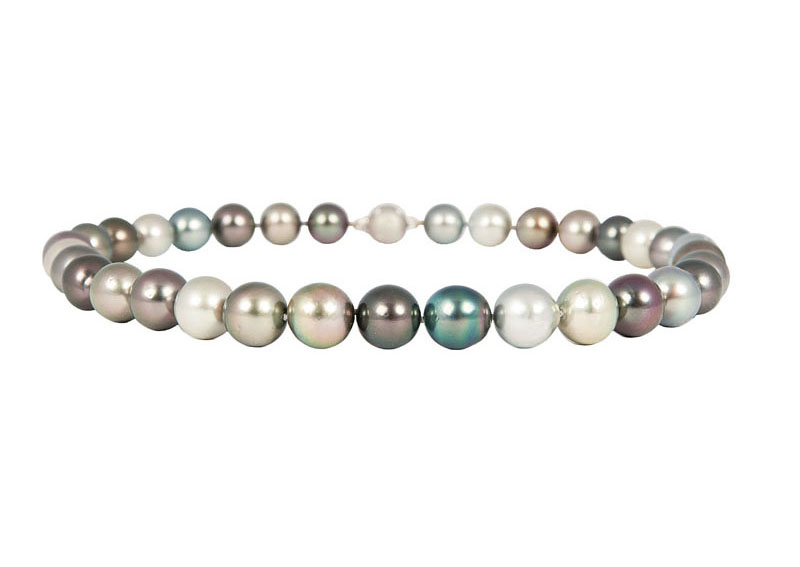 A multicoloured Tahiti pearl necklace