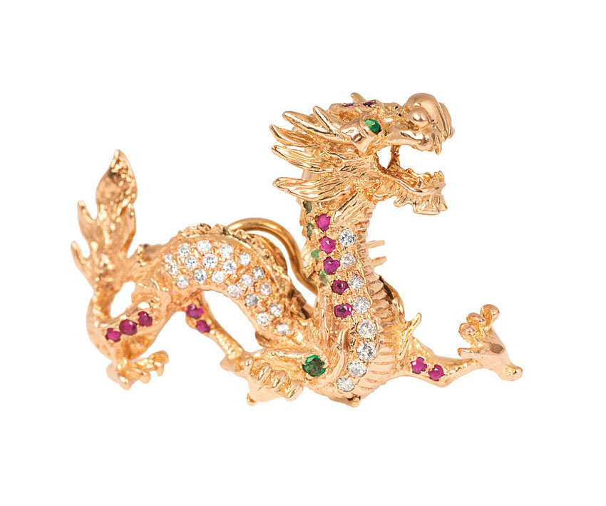 An extraordinary pendant 'Emporer Dragon' with diamonds, rubies and emeralds