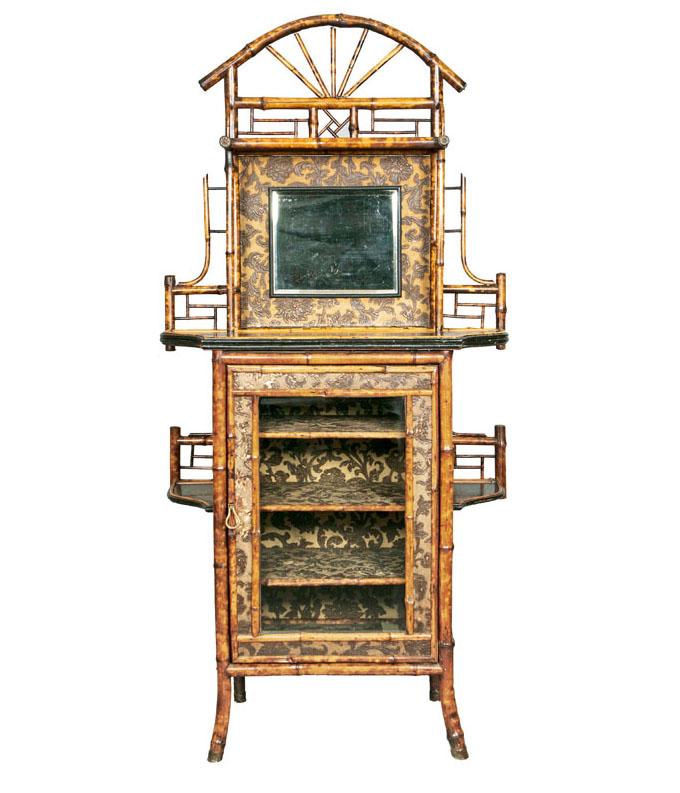 A Victorian bamboo cabinet with chinese lacquer paintings