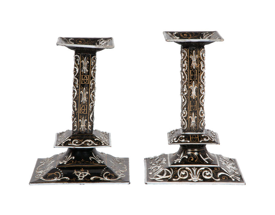 A pair of Limoges enamel candlesticks in the Renaissance Style