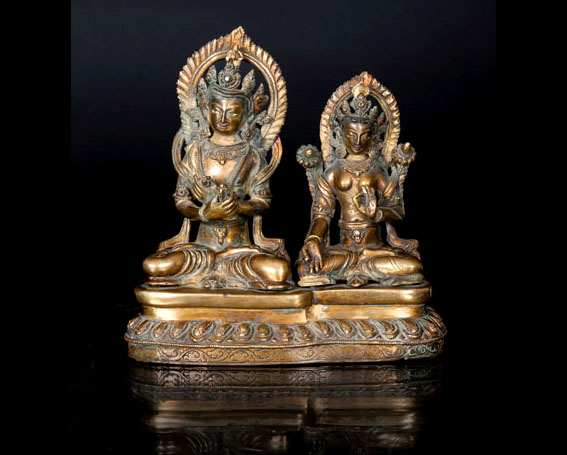 An exceptional figural group 'Vajradhara and Green Tara'