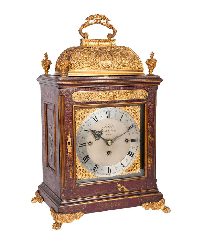 A Georgian III bracket clock with chinoiserie and carillon