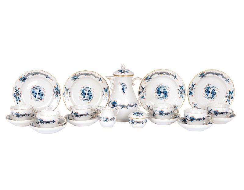 A large Meissen coffee service 'blue dragon' for 12 persons