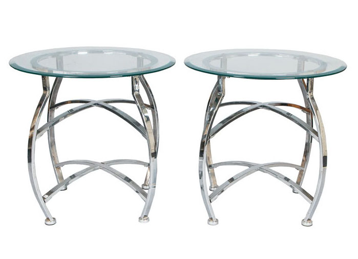 A pair of design-side tables