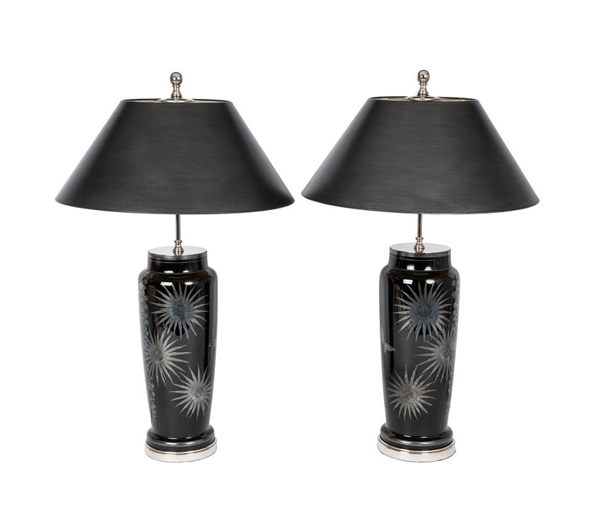 A pair of Art Deco vases as table lamps