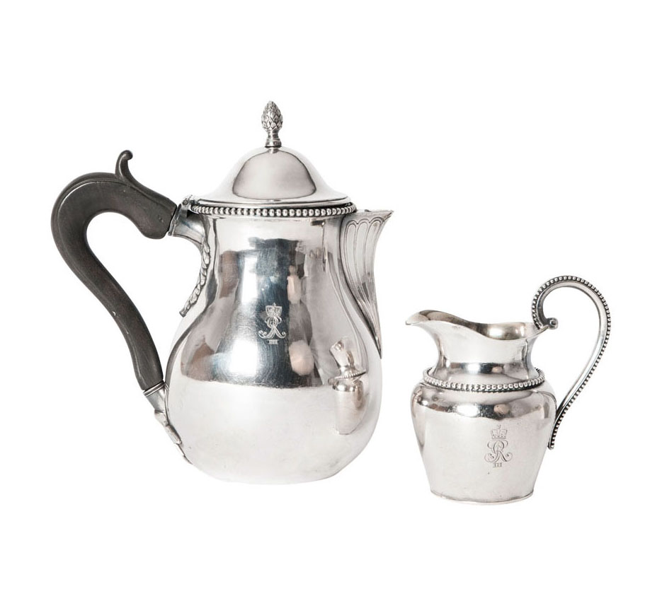 A cortly coffee pot with creamer with cypher of Georg III King of Great Britan and Ireland, Elector and later King of Hanover