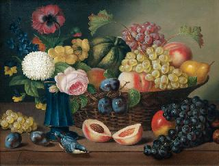 Still Life with Flowers, Fruits and a Nuthatch