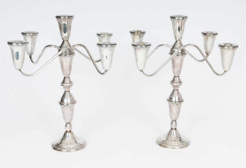 A pair of modern candleabra