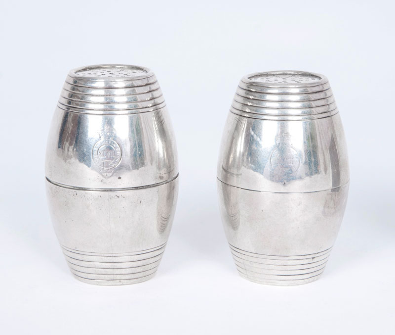 A pair of Victorian spice shakers