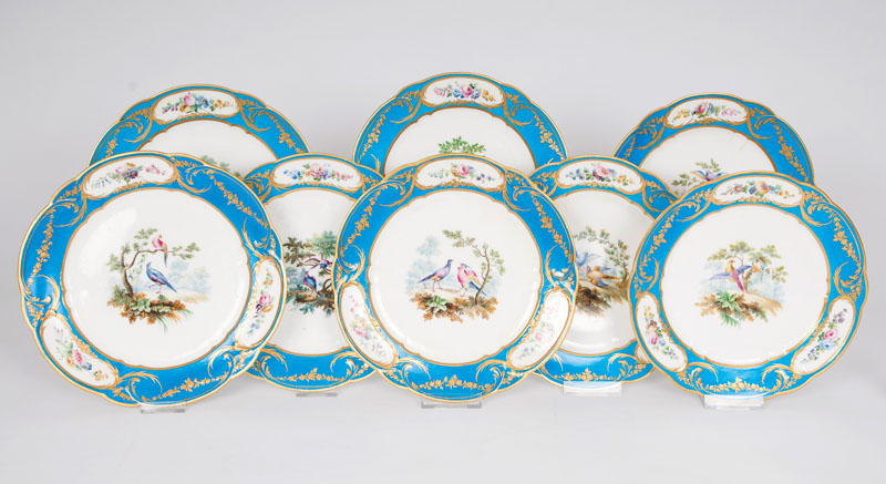 A set of 8 fine Sèvres plates decorated with birds