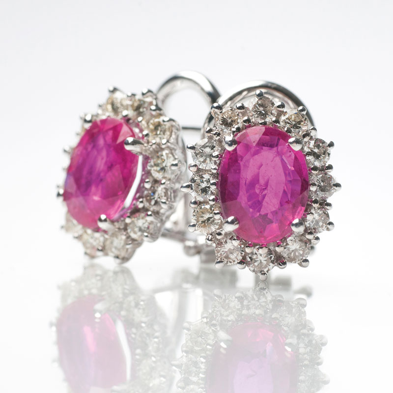 A pair of ruby diamond earrings