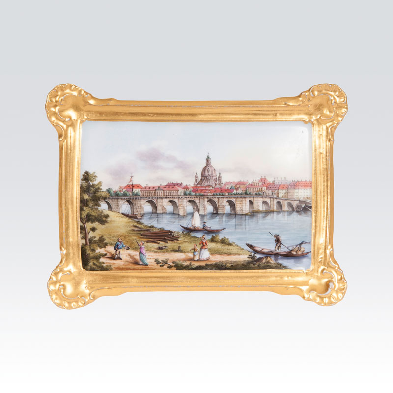A porcelain painting with view of the city Dresden