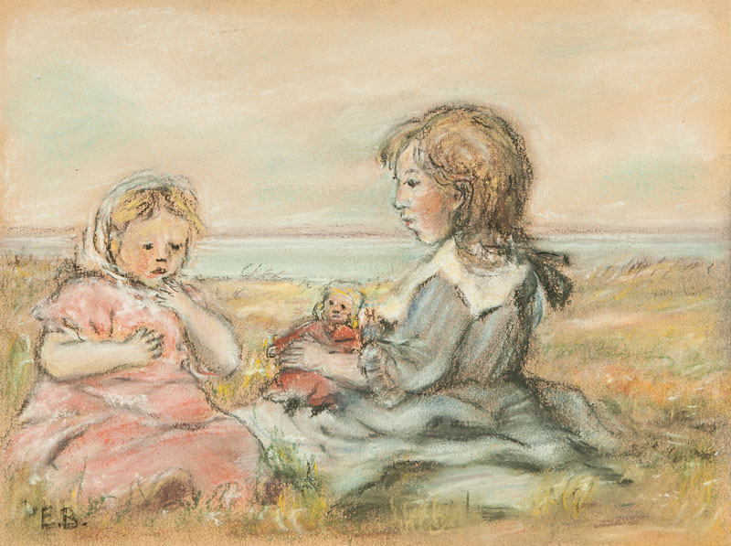 Two Girls with Doll on the Beach