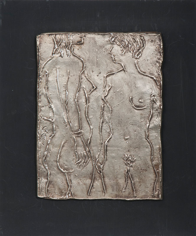 A bronze relief 'Two female nudes'
