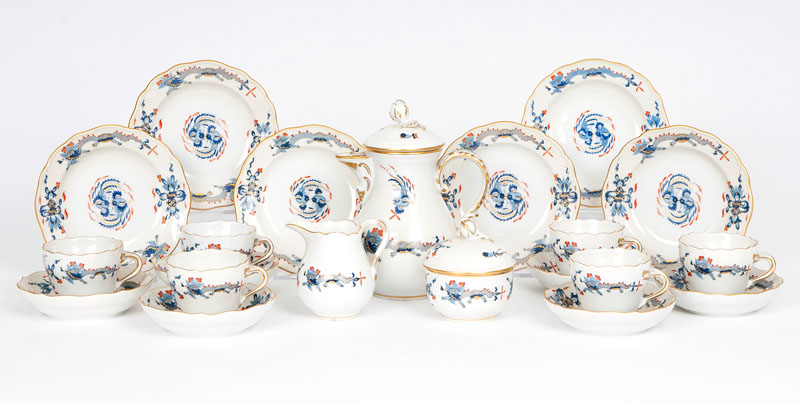 A Meissen mocca service 'Blue Dragon' for 6 persons
