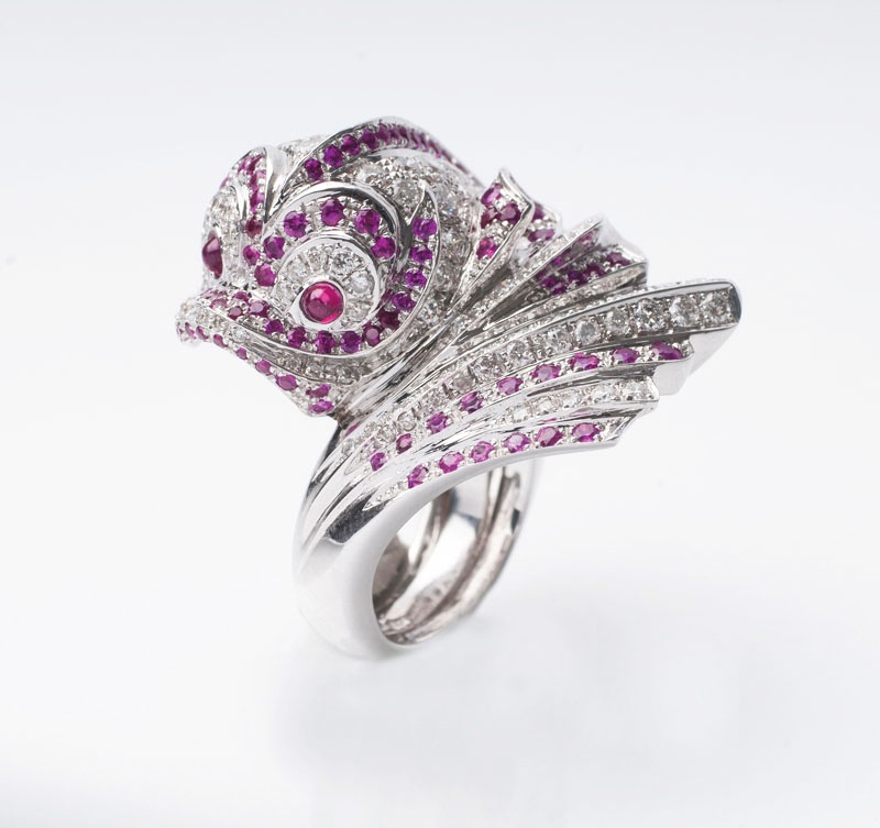A phantasie cocktailring with rubies and diamonds 'Fish'