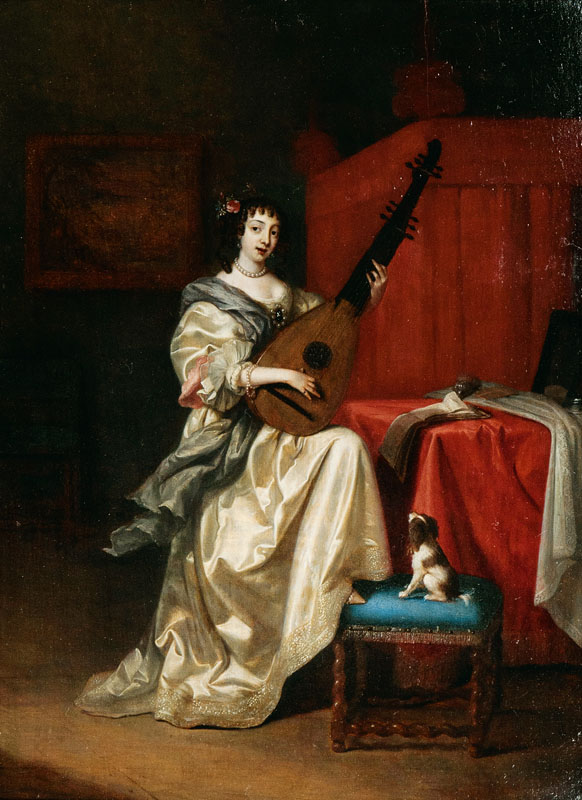 Portrait of a young woman playing the lute