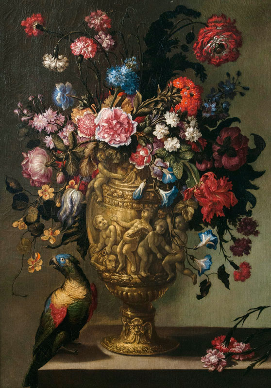 Companion Pieces: Still Lifes with Flowers in a Vase, a Parrot and a Monkey