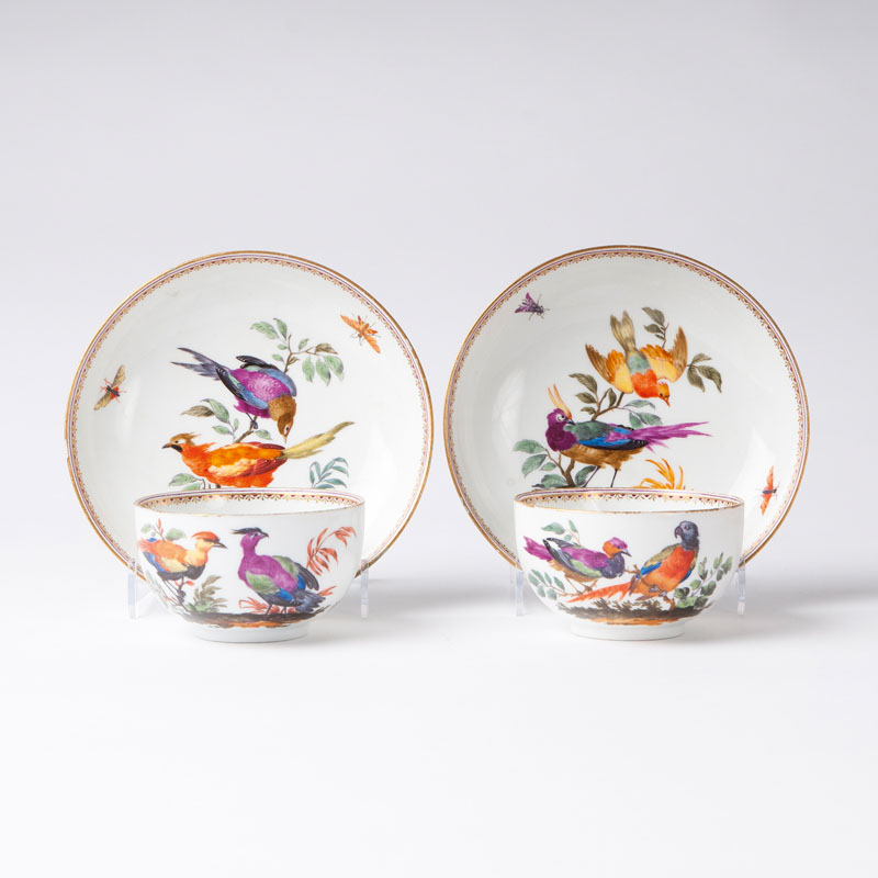 A pair of cups with exotic birds
