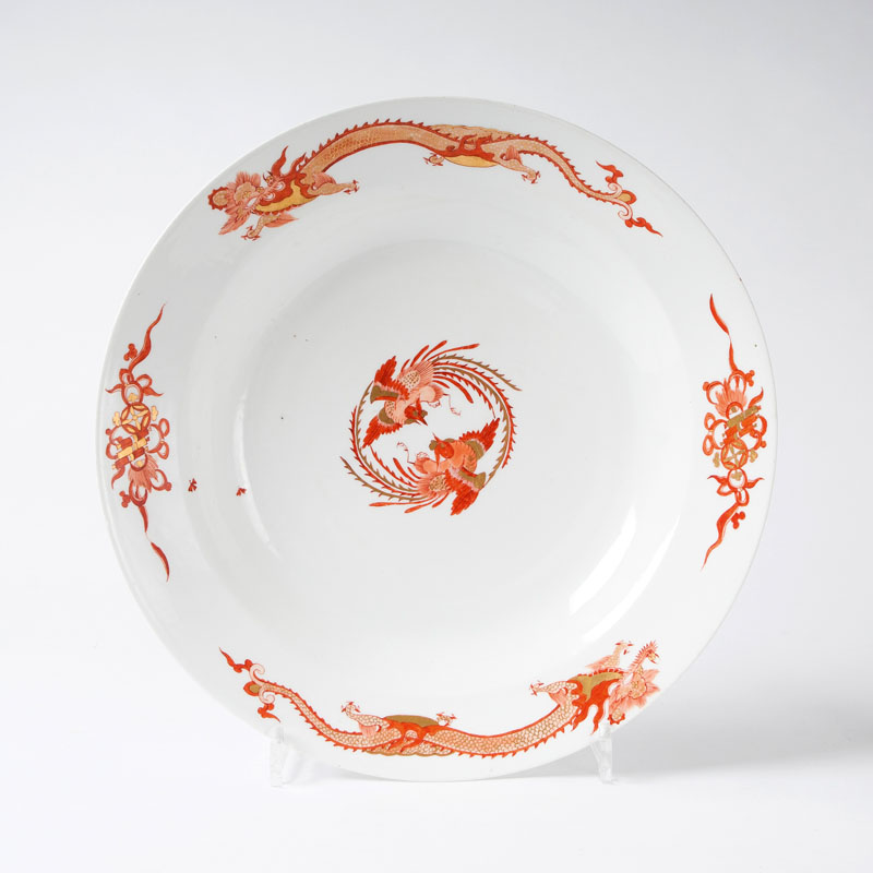 A large round dish from the service with the 'Red Dragon'