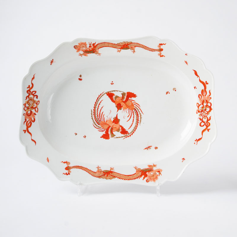 A large cambered shaped dish from the service with the 'Red Dragon'