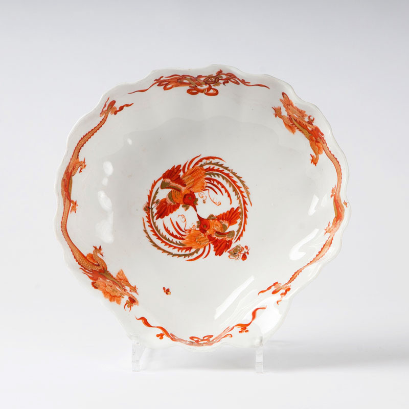 A large shell-shaped dish from the service with the 'Red Dragon'