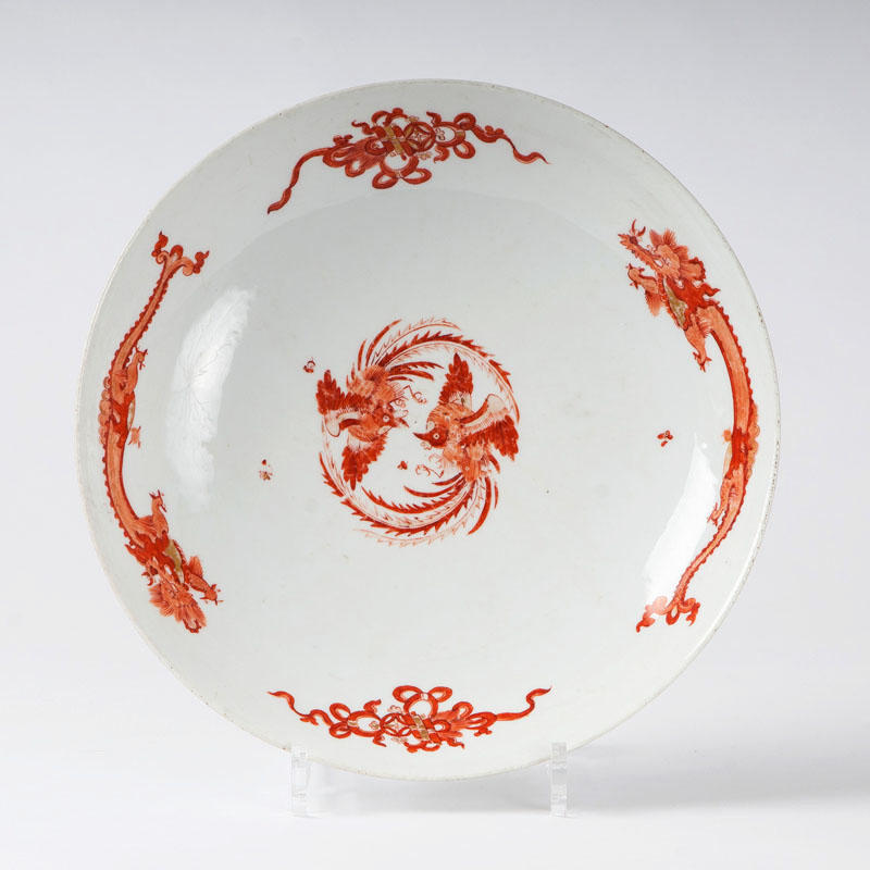 A large round plate from the service with the 'Red Dragon'