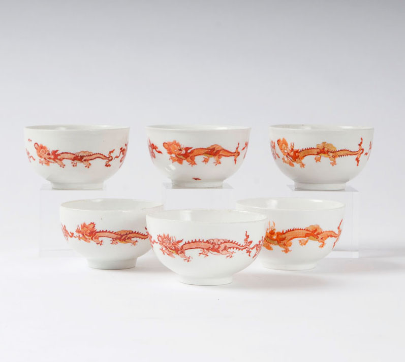 A set of 6 cups from the service with the 'Red Dragon'